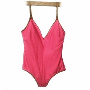 SAM EDELMAN Pink Swimsuit with Gold Size Small NWT